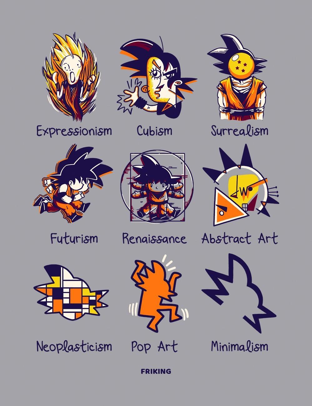 Camiseta inspirada en dragon ball en todos los estilos artísticos de nuestros creativos.