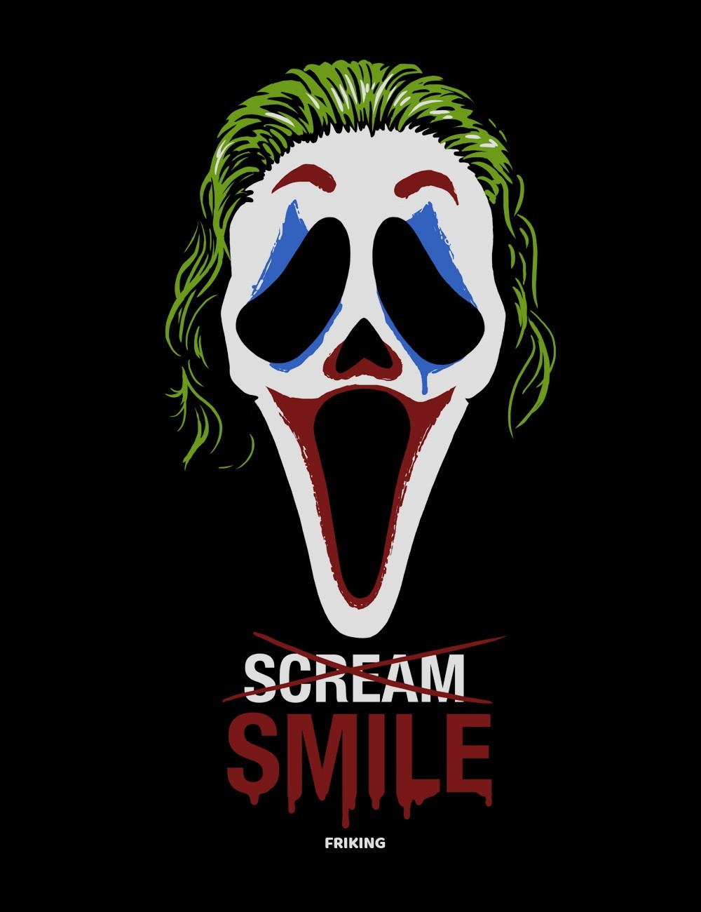Camiseta del Joker inspirada entre Scream  y la nueva película del Joker